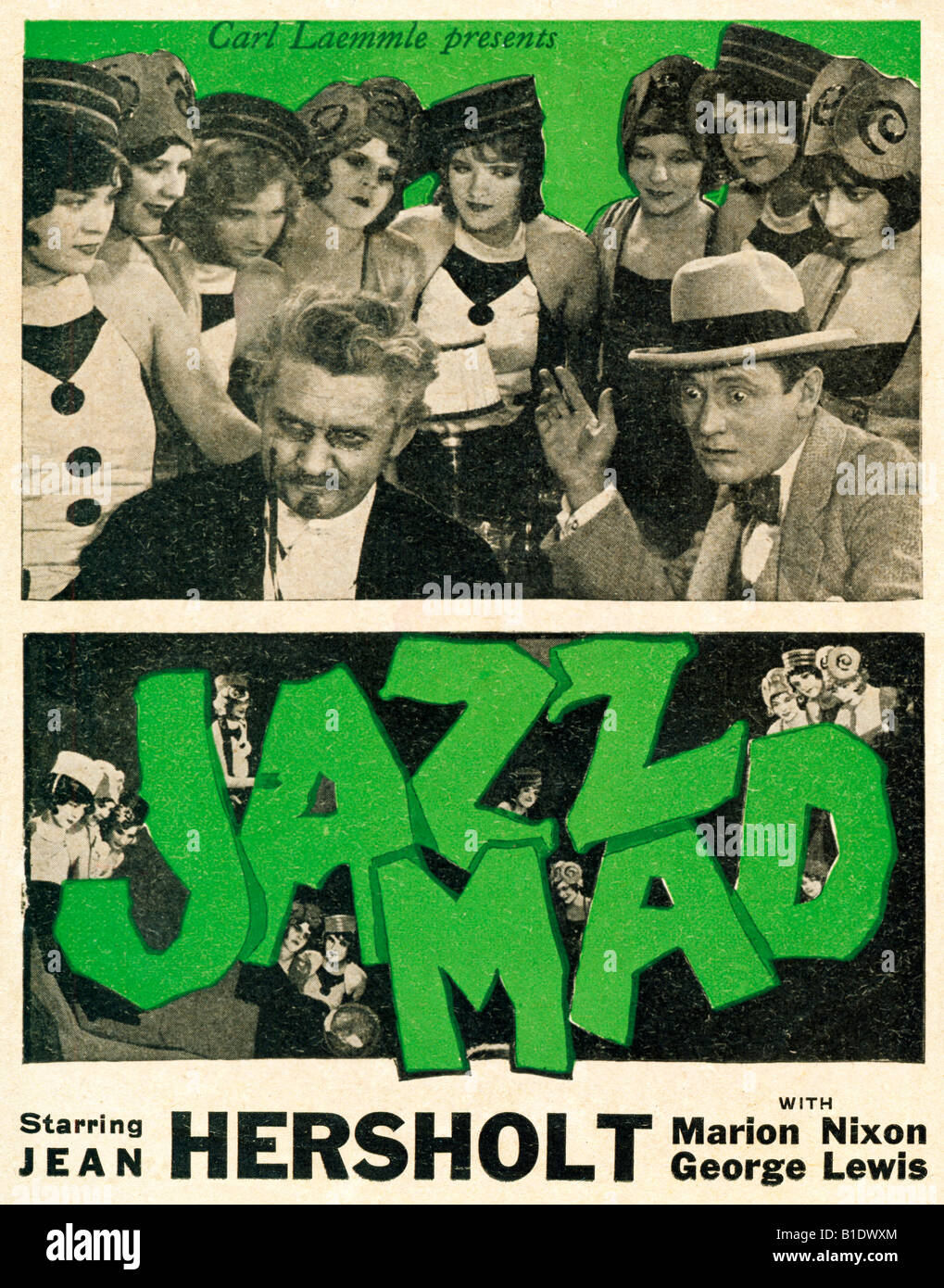 Jazz Mad advert for the 1928 silent melodrama movie scion of a wealthy family falls for the daughter of a penniless - Stock Image