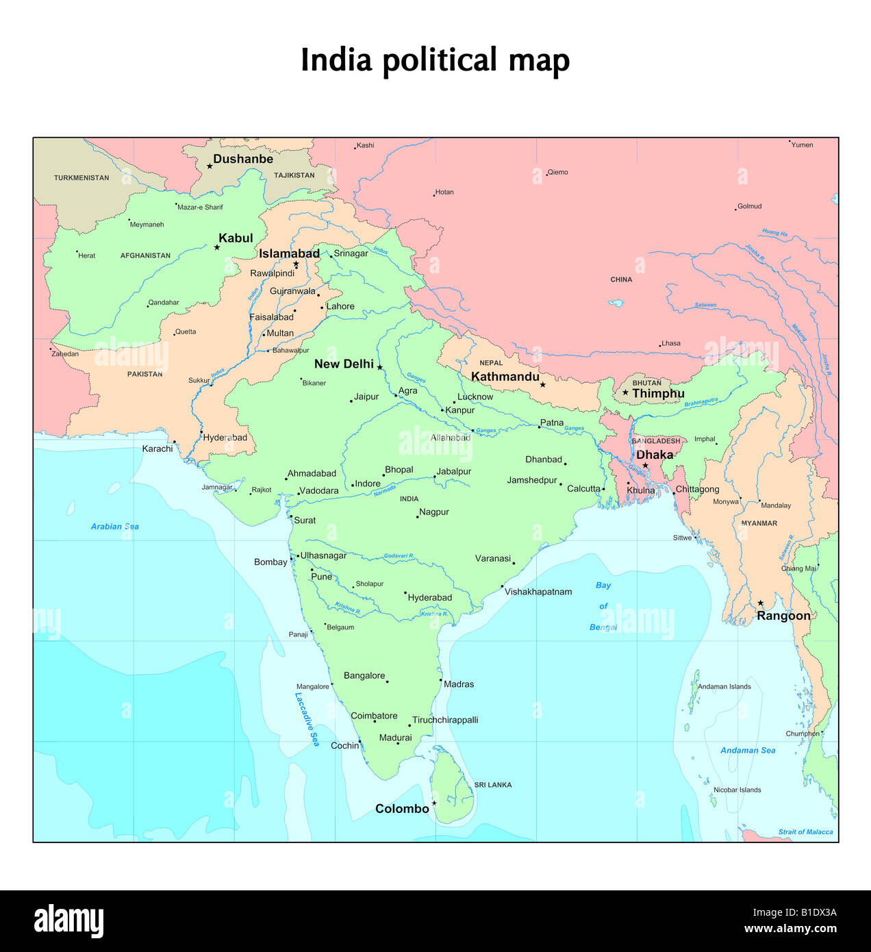 India political map Stock Photo: 18130878 - Alamy on kanpur india map, porbandar india map, kanchi india map, srinagar india map, raipur india map, goya india map, amritsar india map, india dharamsala map, nanjing india map, trivandrum india map, shimla india map, bhopal india map, gaya india map, vrindavan india map, gurgaon india map, prayaga india map, ajanta india map, delhi india map, gandhara india map, magadha india map,