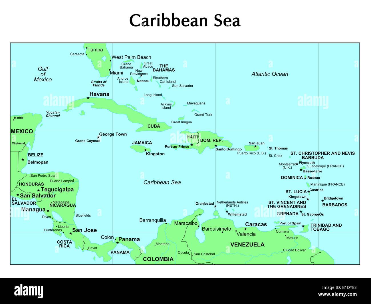 Caribbean Sea Map Stock Photos & Caribbean Sea Map Stock Images - Alamy