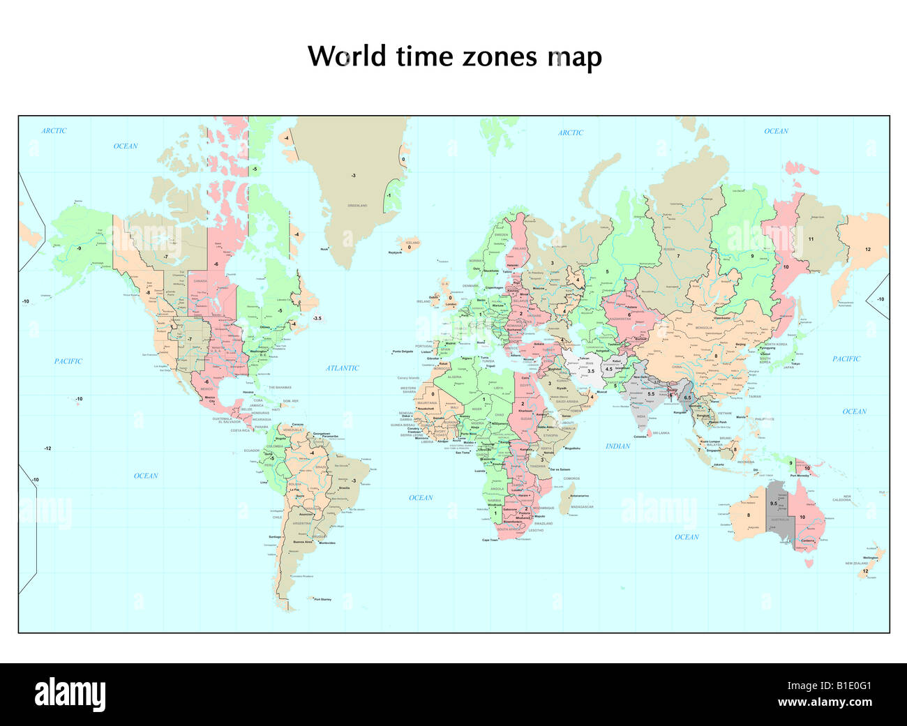 World time zones map Stock Photo