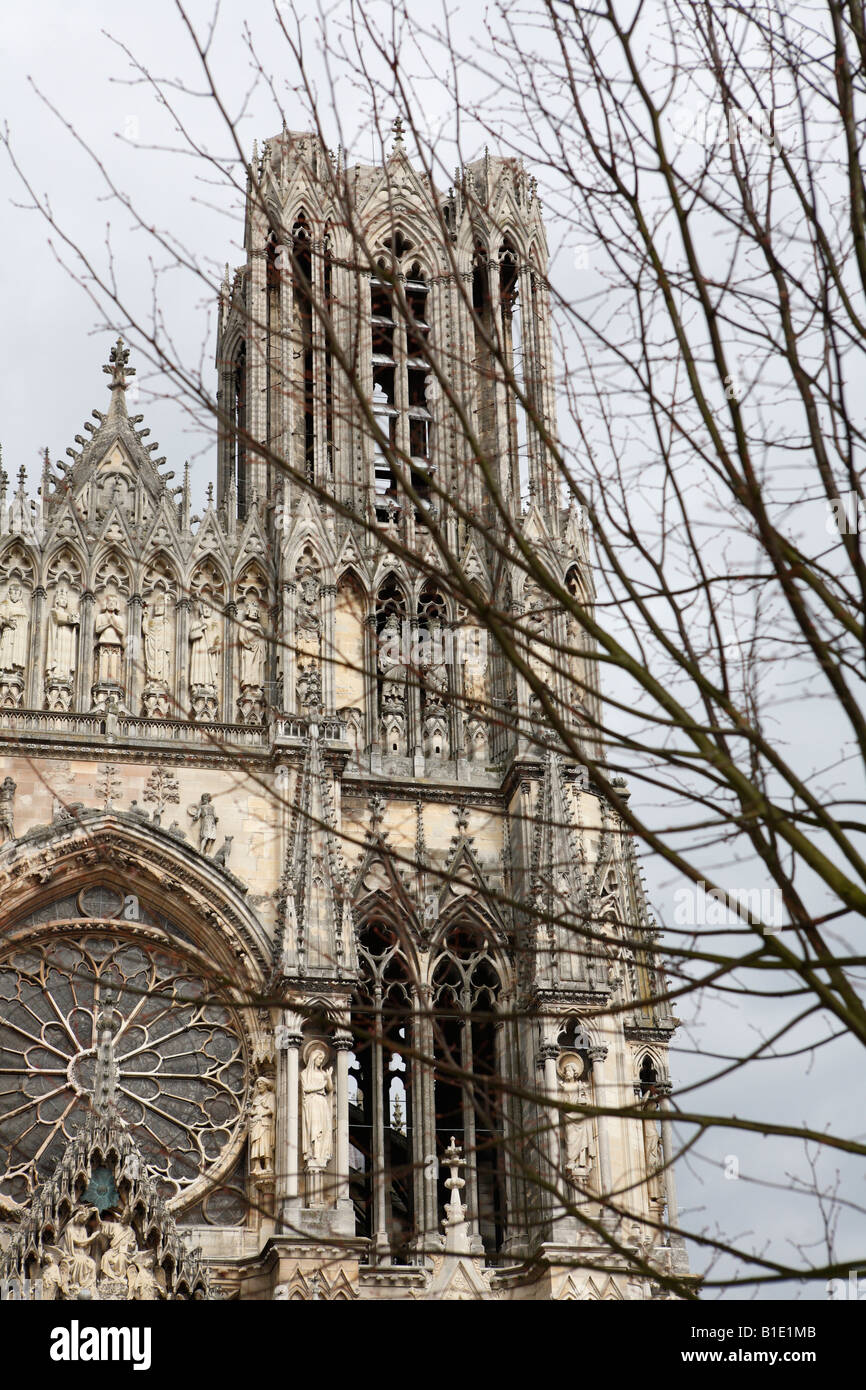 West portal of Notre-Dame cathedral in Reims, Champagne, France Stock Photo