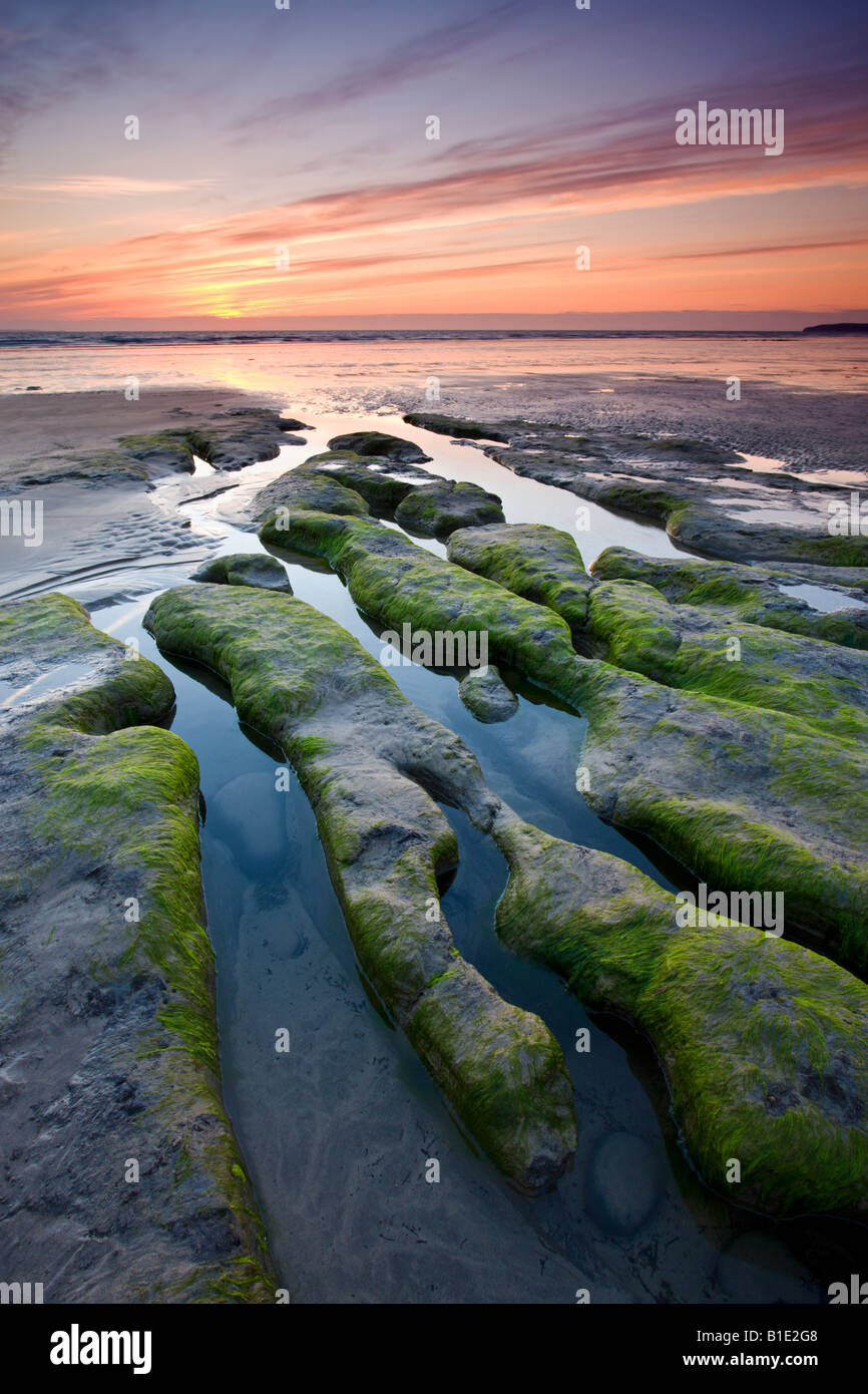 Sunset over strange rock formations on the beach at Westward Ho! Devon England - Stock Image