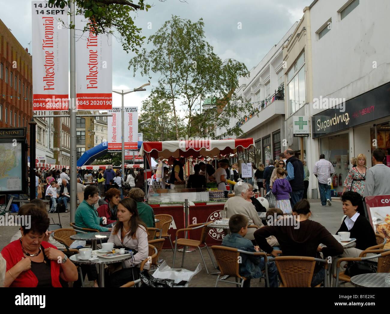 Folkestone town centre during the Folkestone Triennial arts festival - Stock Image