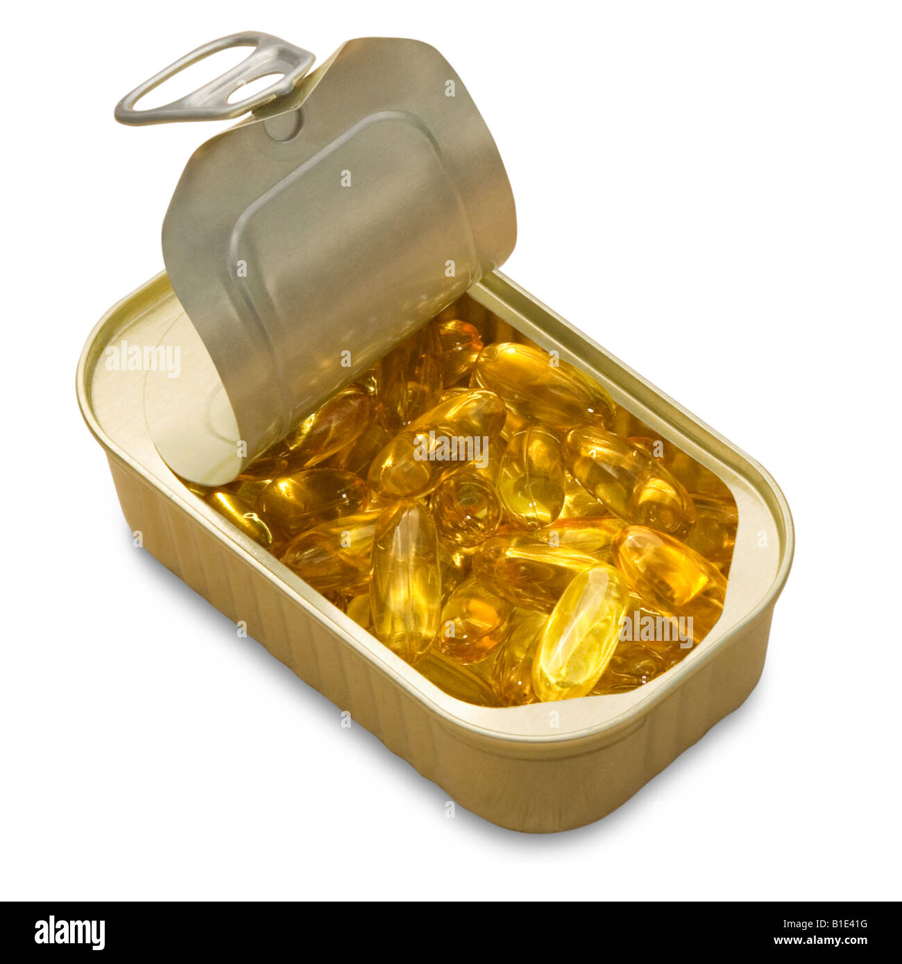 Fish oil capsules randomly ordered in a ring pull tin of on white background. Cutout - Stock Image