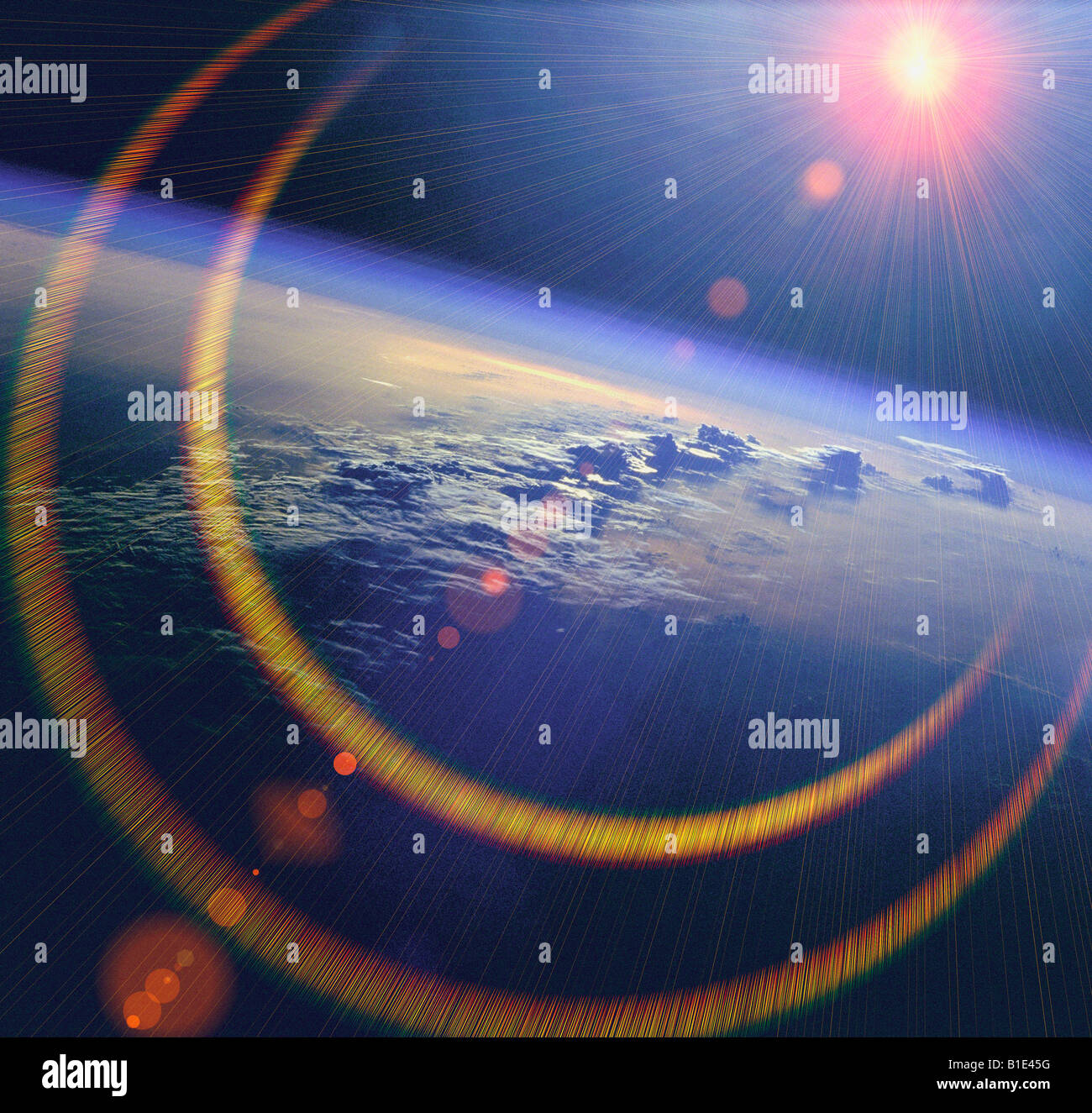 view from NASA shuttle of the earth and sun from outer space - Stock Image