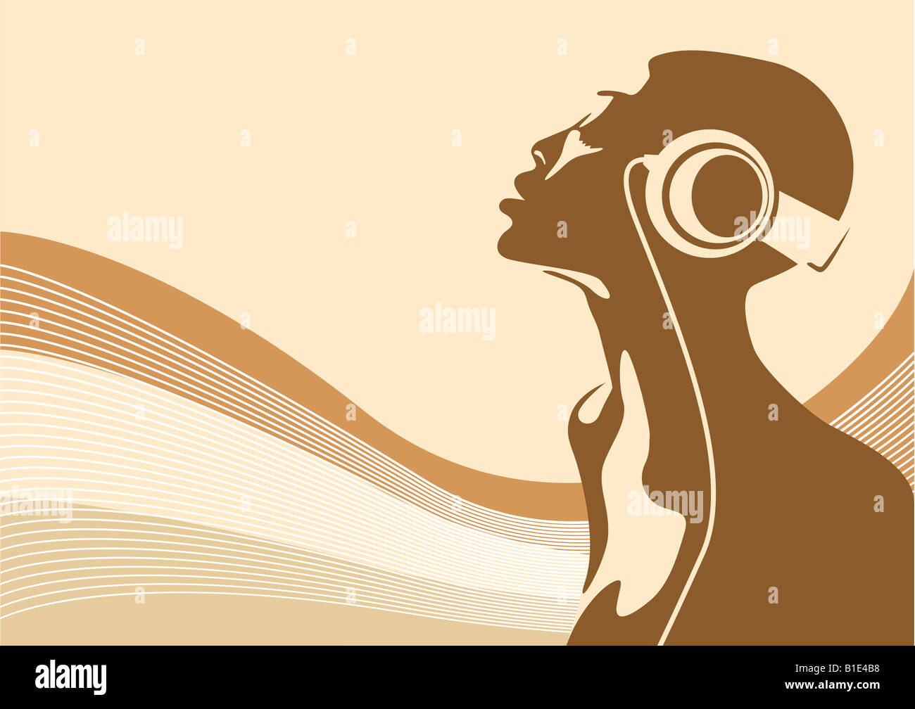 Abstract illustration of an african woman listening to music - Stock Image