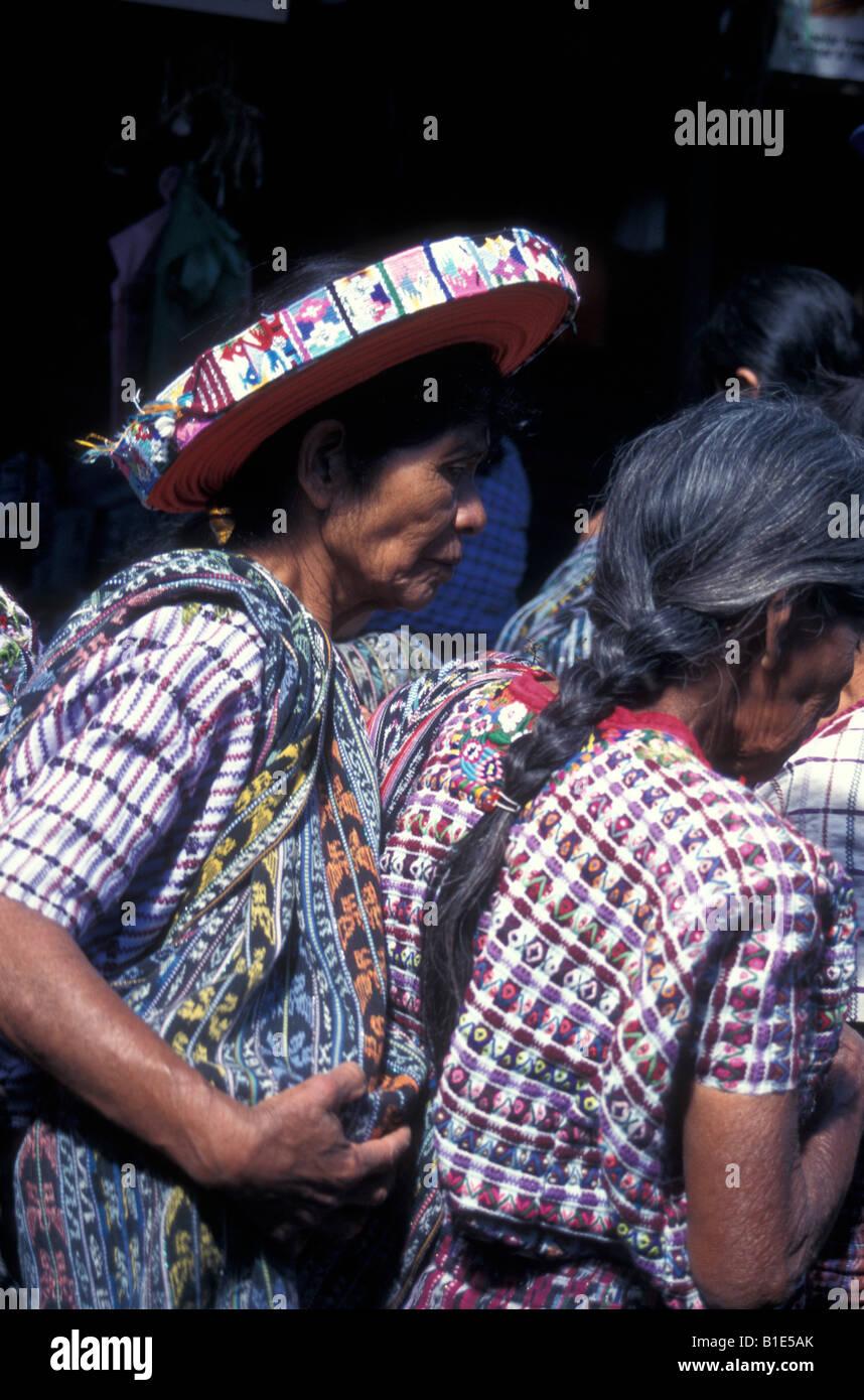 Tzutuhil Maya women in Santiago Atitlan, Guatemala - Stock Image