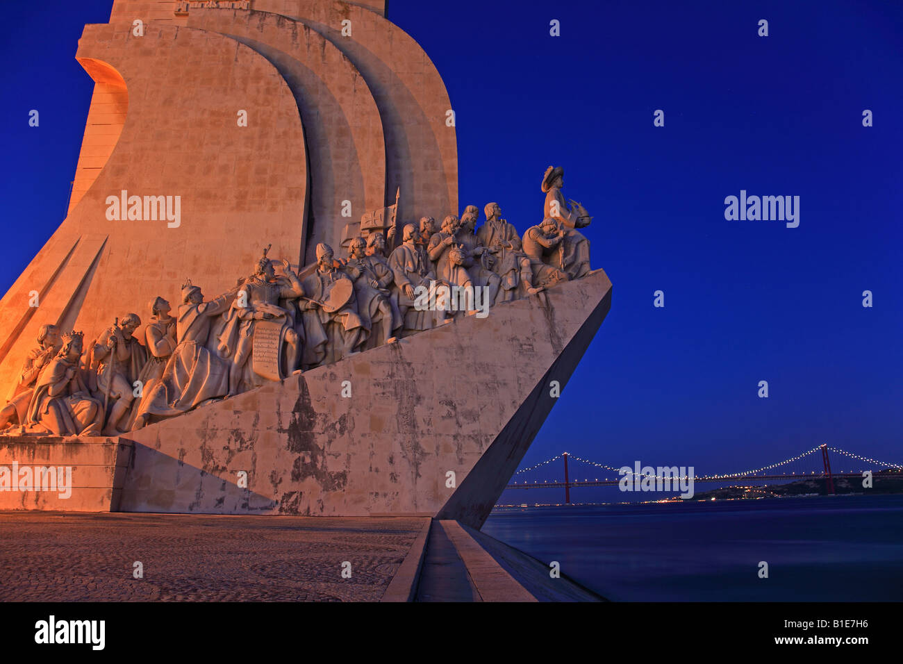 Padrao dos Descobrimentos at night, seafaring memorial, Lisbon, Portugal - Stock Image