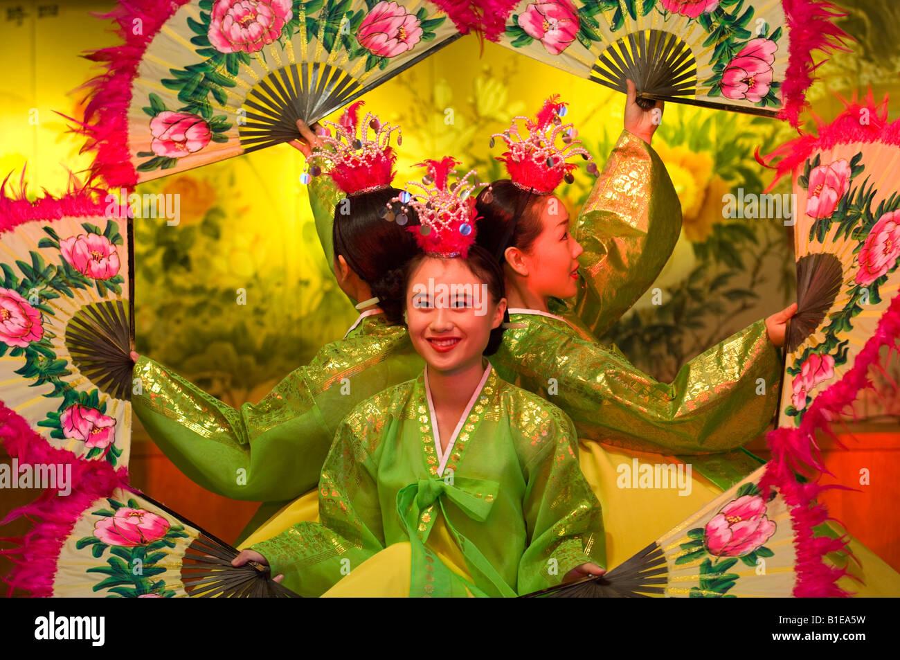 Traditional Korean Dancers near Bulguksa Temple Gyeongju, Busan, South Korea Stock Photo