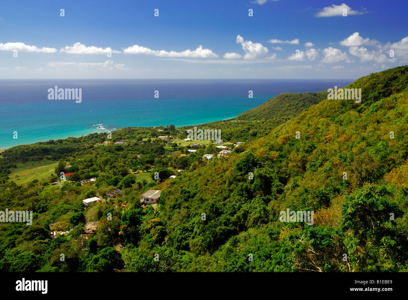 View onto the coast at Punta Yeguas and the south east Caribbean Sea near Maunabo, Puerto Rico - Stock Image