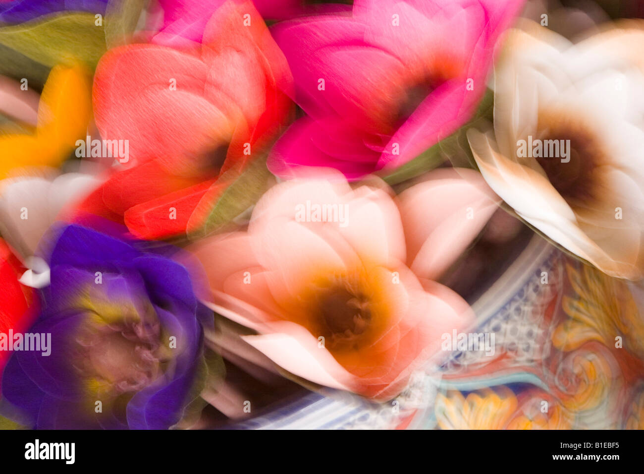 Abstract design silk flowers motion stock photos abstract design abstract design of silk flowers with motion blur usa stock image mightylinksfo