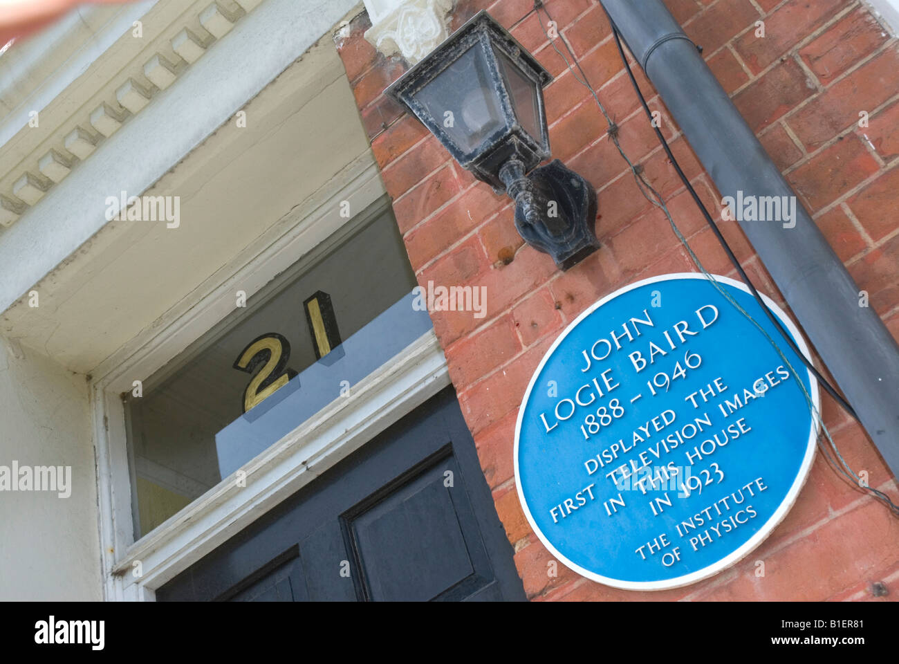 blue plaque for john logie baird who demonstrated the first stock