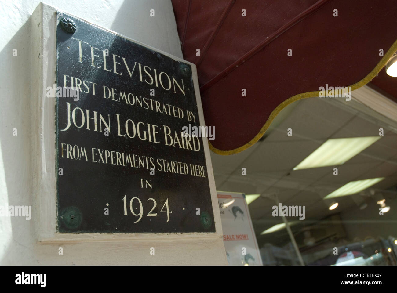 plaque to john logie baird who first demonstrated television from