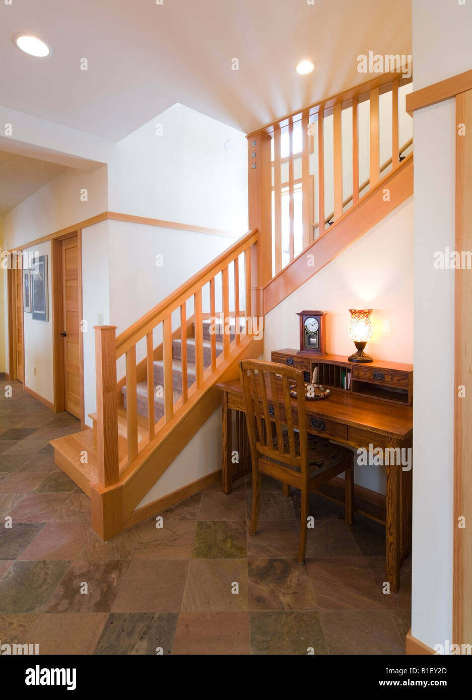 Inside View Of A Staircase In A Contemporary Craftsman Style Home,  Anchorage Alaska.