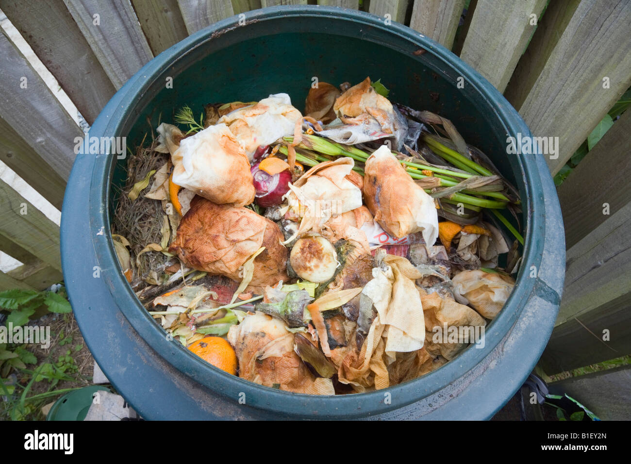 Compost bin full of mouldy vegetables and rotting organic food material from above - Stock Image