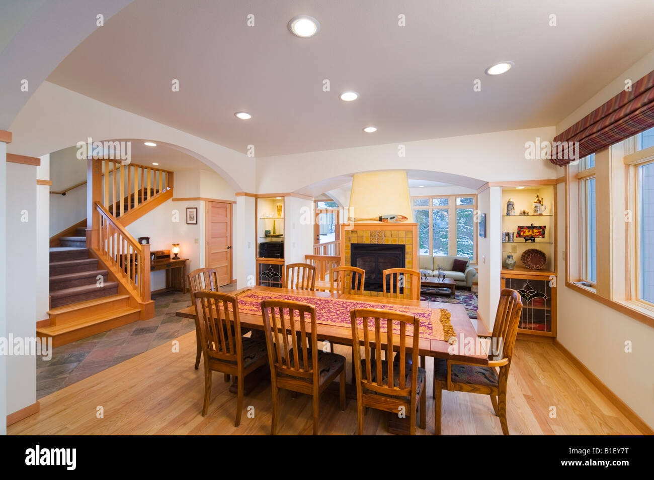 Dining Room view of a Craftsman Style contemporary residence ...