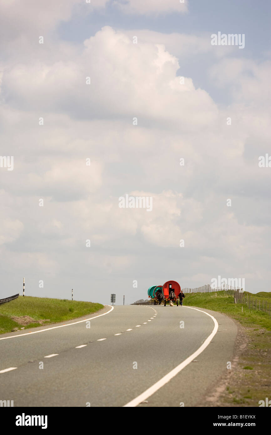 Caravans on the A66 en route to the Appleby Horse Fair - Stock Image