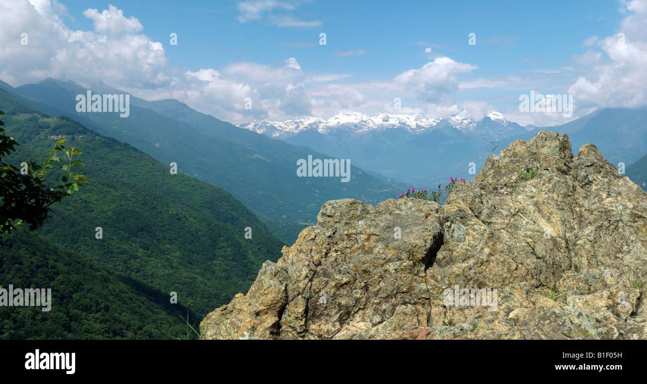 Italian Alps view, Piemont, Italy - Stock Image