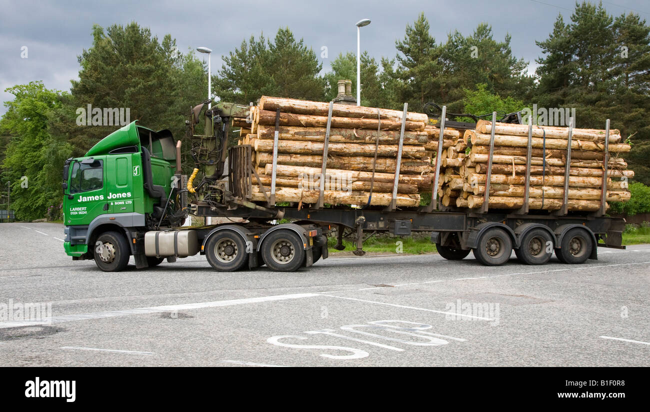 James Jones timber transport vehicle or logging truck, trucking & haulage trailers at Dinnet, Cairngorms National - Stock Image