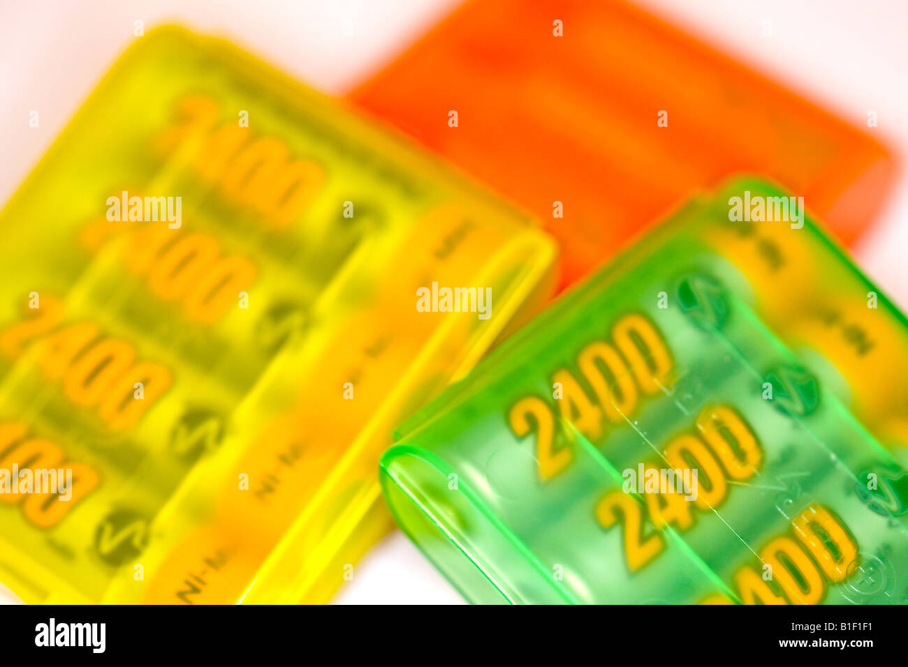 Three boxes of rechargeable battery - Stock Image