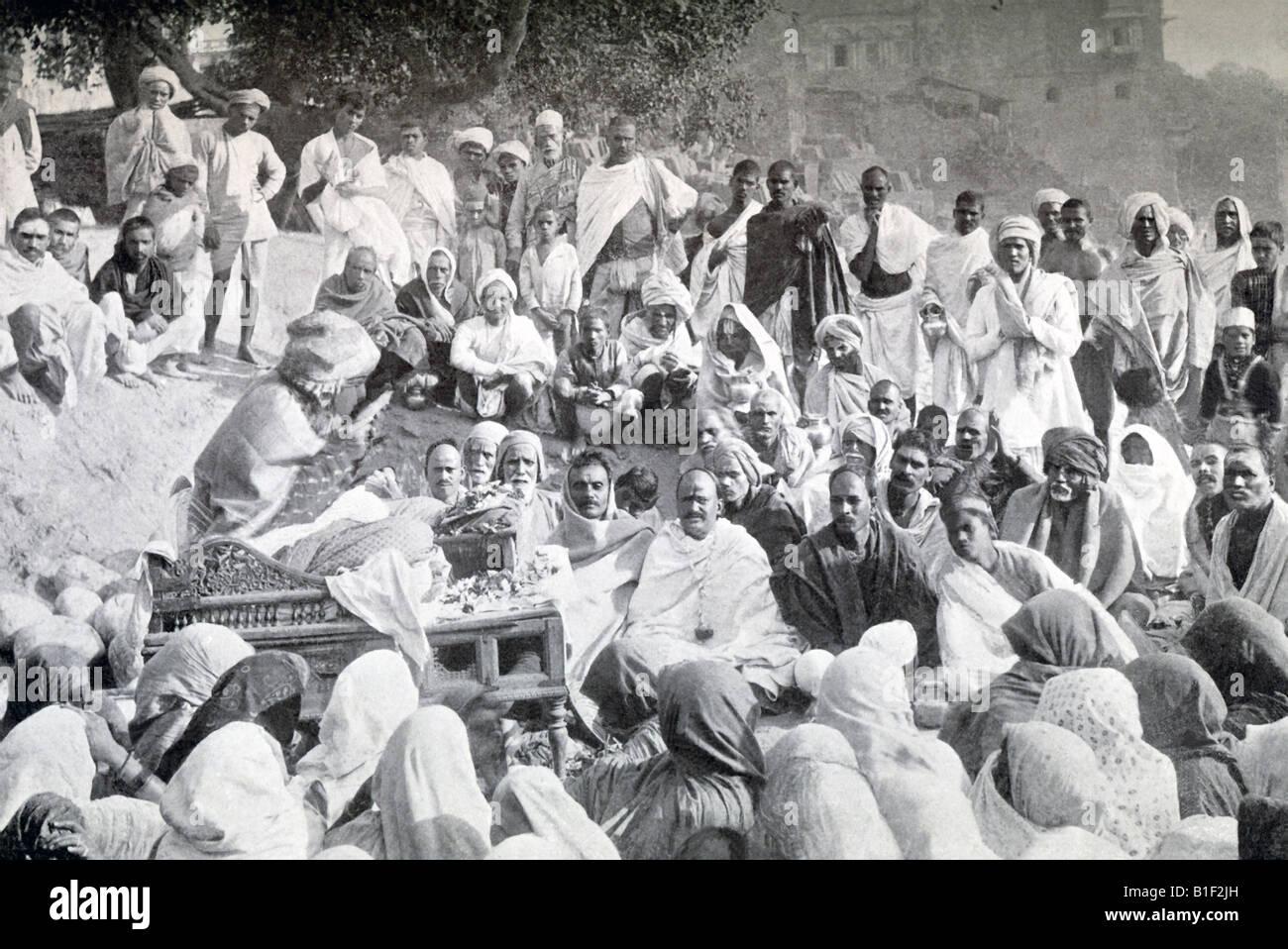 Public Reader Reciting Epic Poem Mahabharata - Stock Image