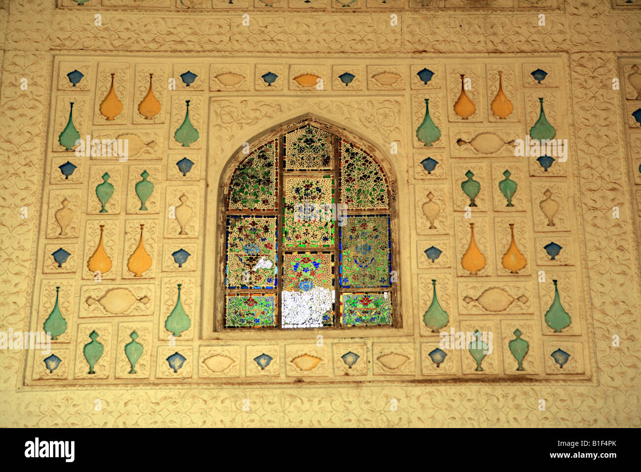 Exquisite wall decorations inside the Amber Fort Jaipur India Stock ...