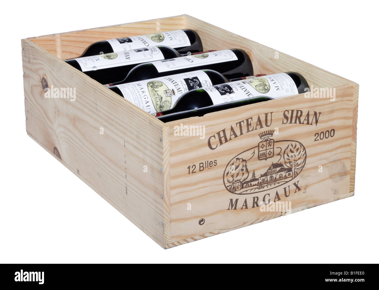 Case Of Claret French Wine In Wooden Box Stock Photo