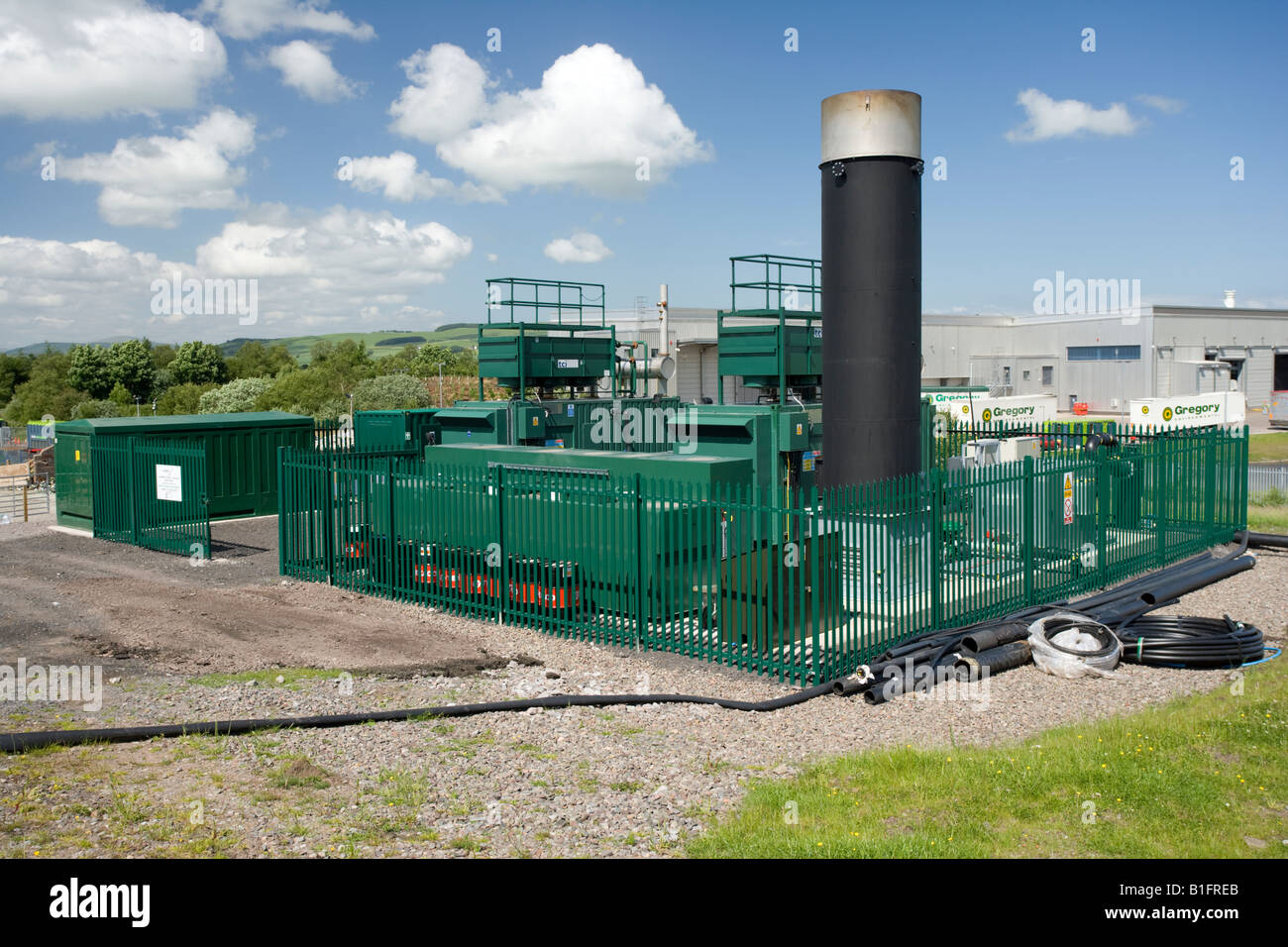 Enegy recovery from landfill site gas fueled power station Locharmoss near Dumfries Scotand UK - Stock Image