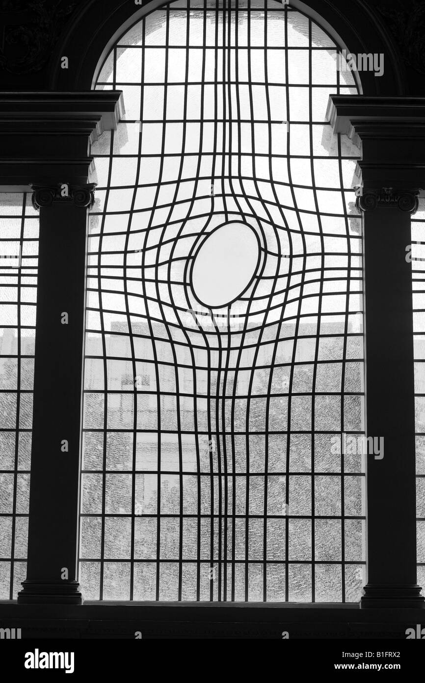 New contemporary stained glass window of St Martin in the Fields church London England UK - Stock Image