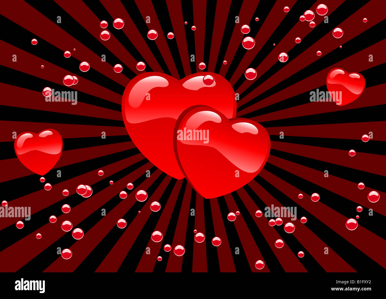 Abstract vector illustration of hearts and bubbles - Stock Image