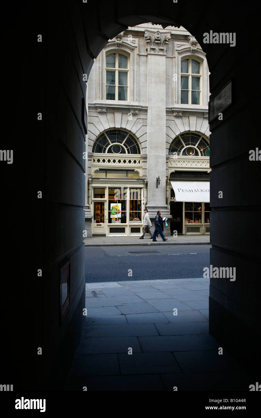 View of Cornhill from Change Alley, The City of London - Stock Image
