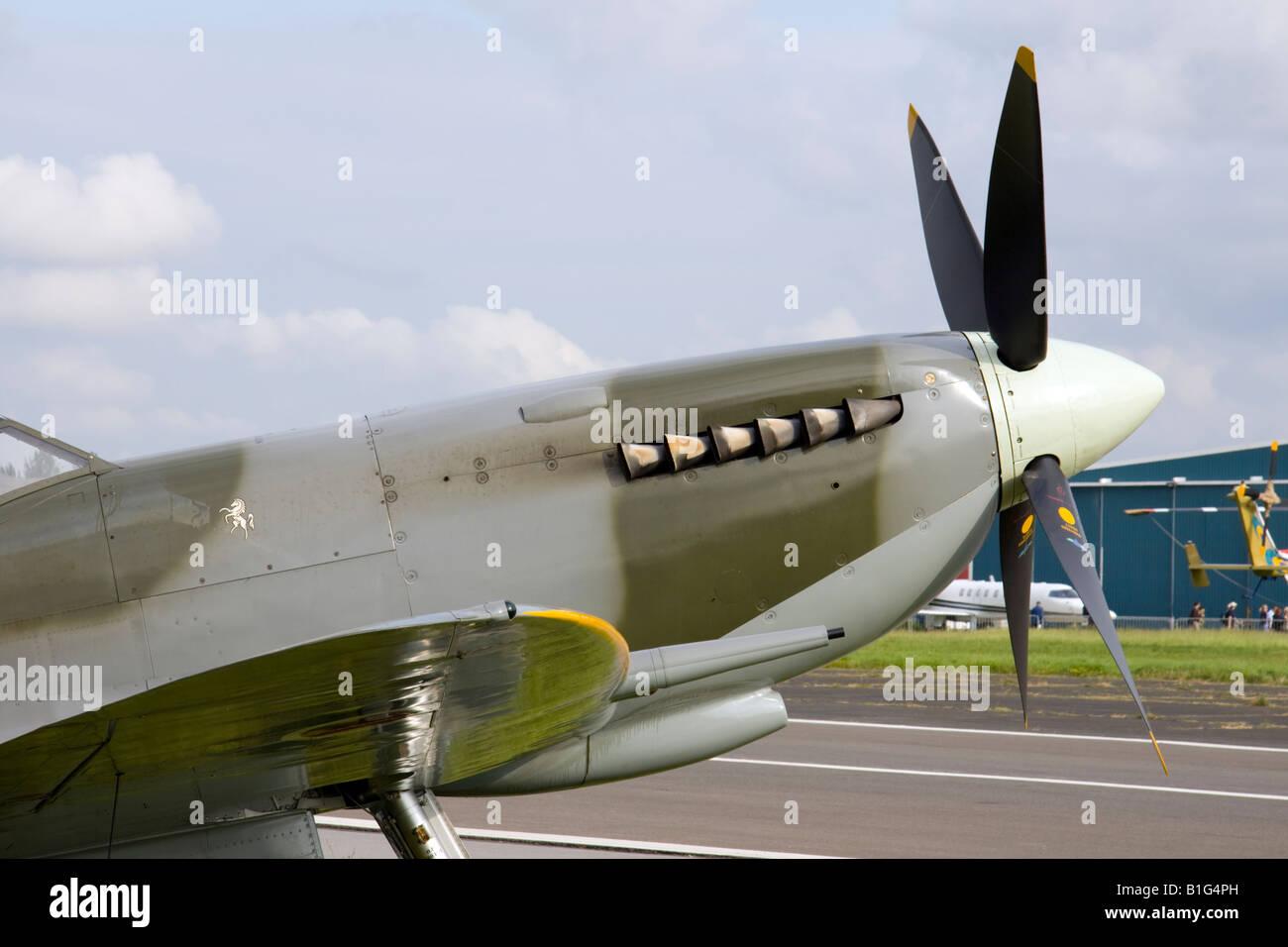 The Spirit of Kent Spitfire TA805 at the Biggin Hill Air Fair, Kent, England, UK.  7th June 2008 - Stock Image