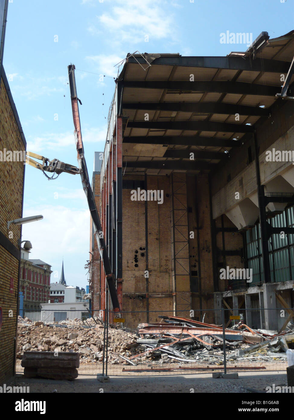 Demolition of the old cogeneration plant at Darmstadt University. The space will be used for a new library. - Stock Image