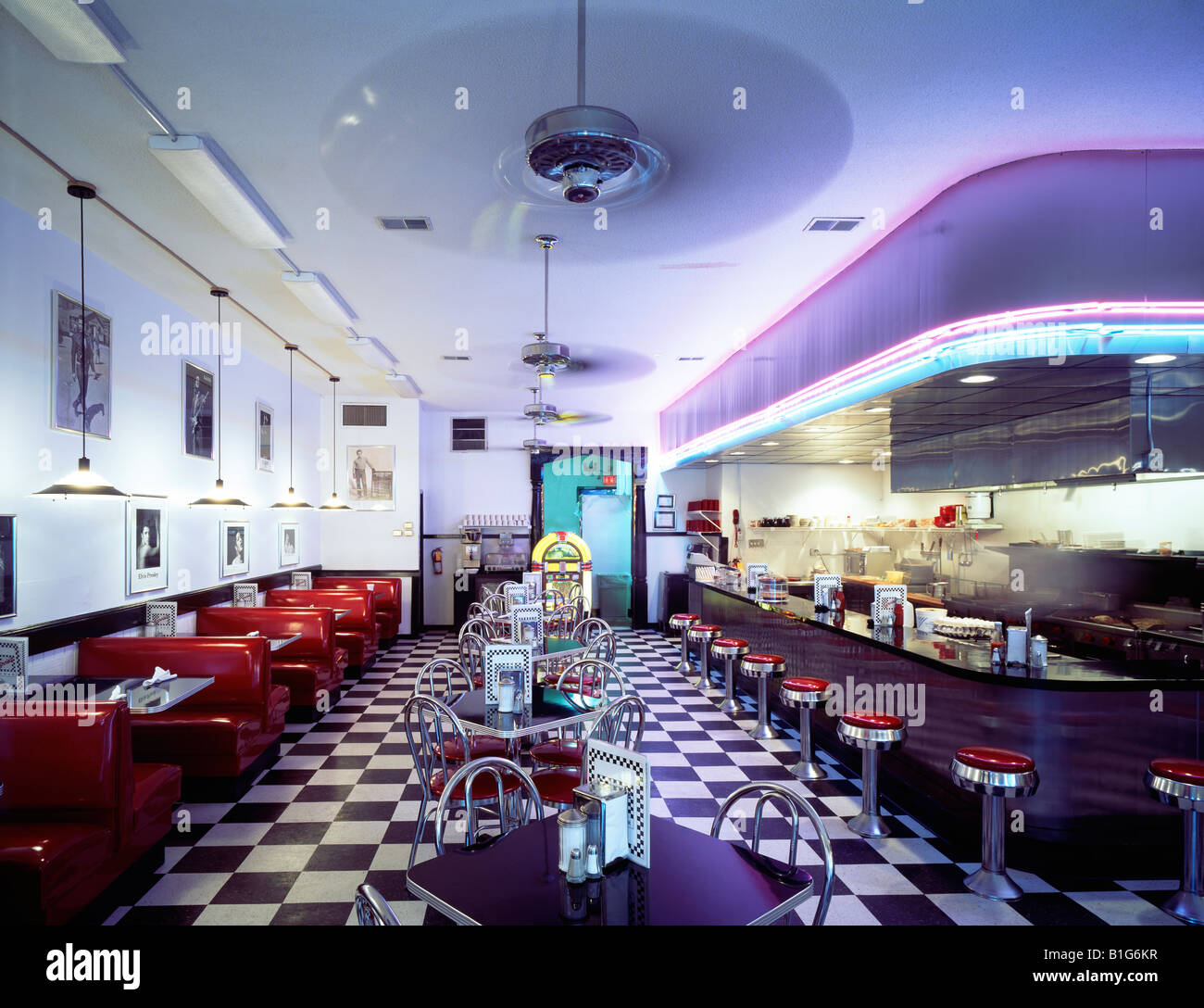 Interior view of Fannie's Diner - Stock Image