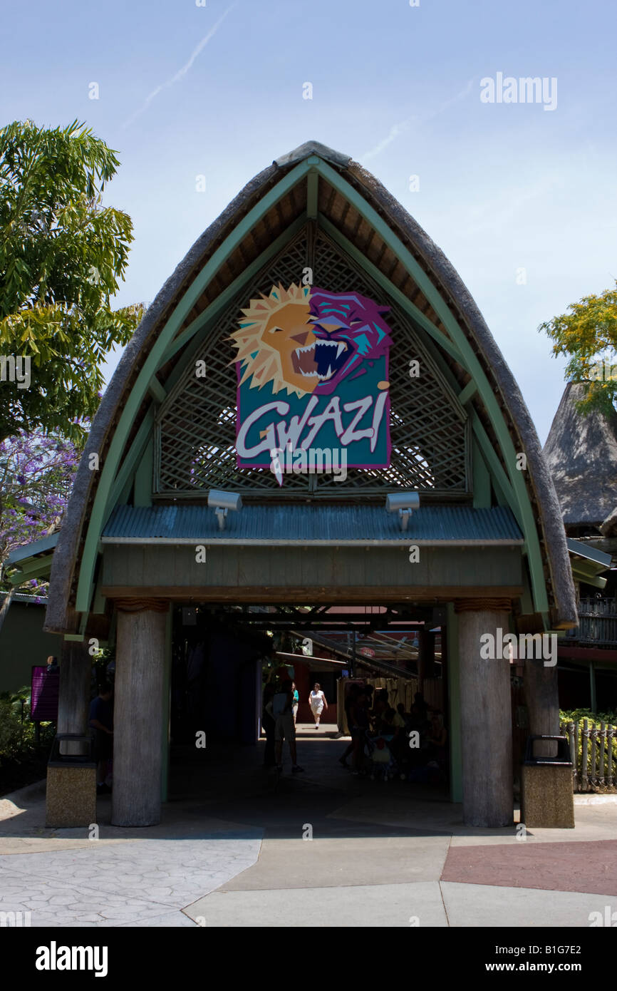 Gwazi Wooden Roller Coaster Entrance And Sign At Busch Gardens Stock