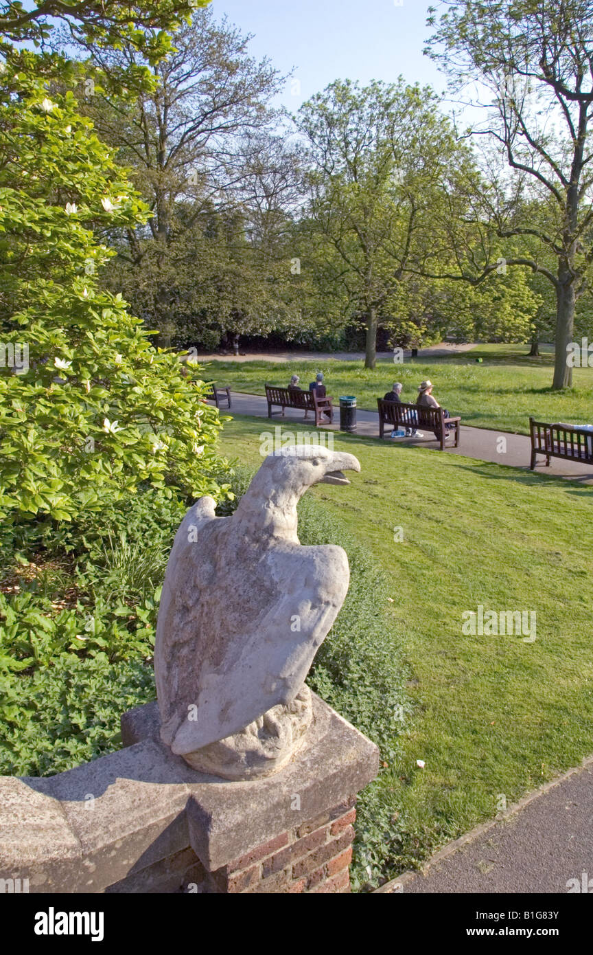 Stone statue of eagle on steps overlooking Waterlow Park Highgate London England UK - Stock Image