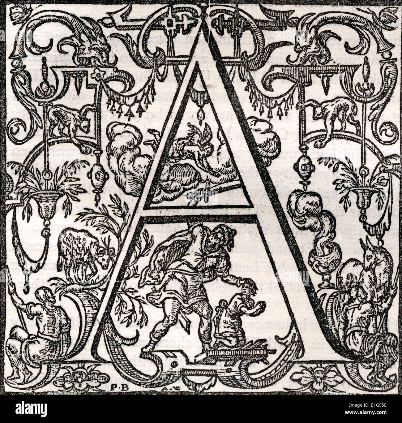 Facsimile of Initial letter A with story of Abraham and Isaac Engraved by Ahasuerus van Londerseel after Peter van - Stock Image