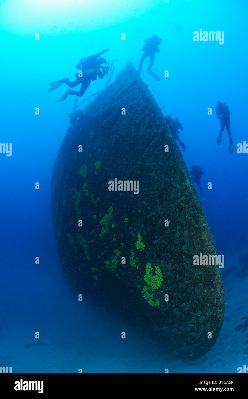 scuba diver at the shipwreck lina, Shipwreck Lina Croatia Adriatic Sea Mediterranean Sea Cres - Stock Image