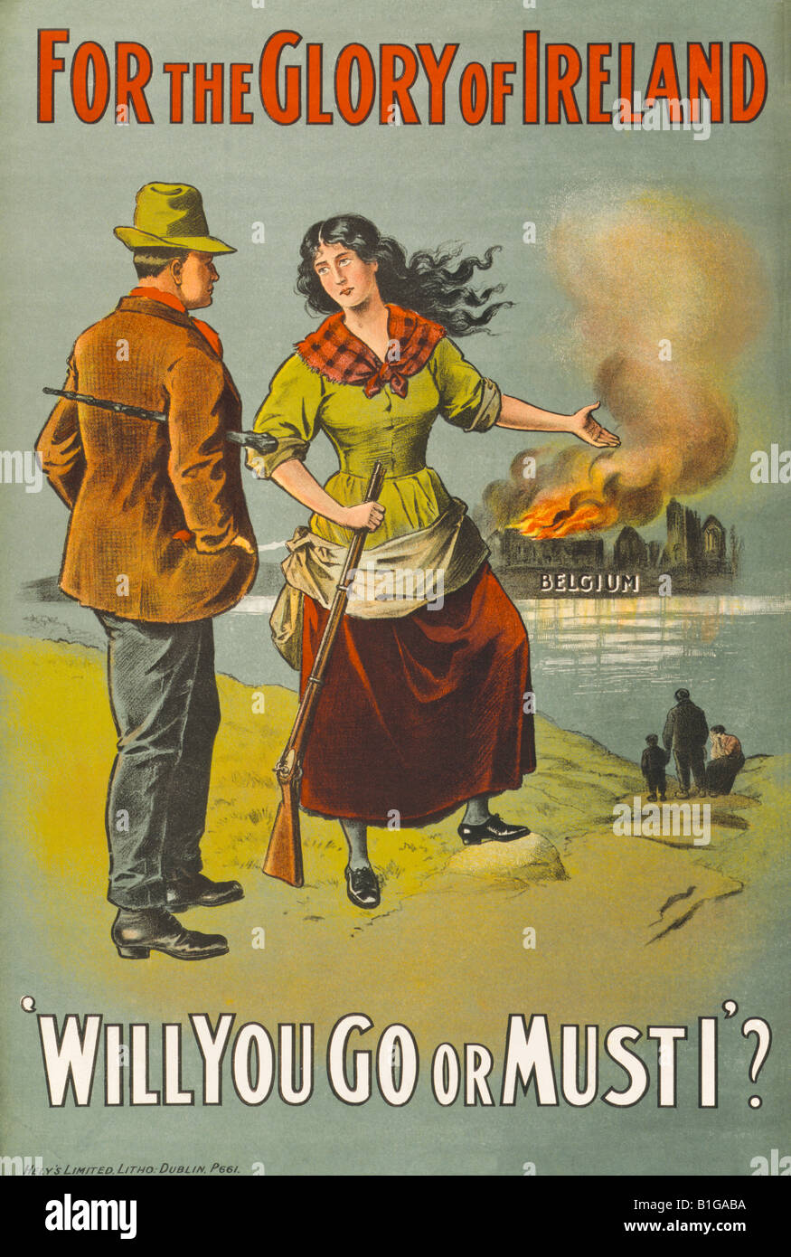 First World War chromolithographic recruiting poster printed in Dublin and aimed at convincing young Irishmen to - Stock Image