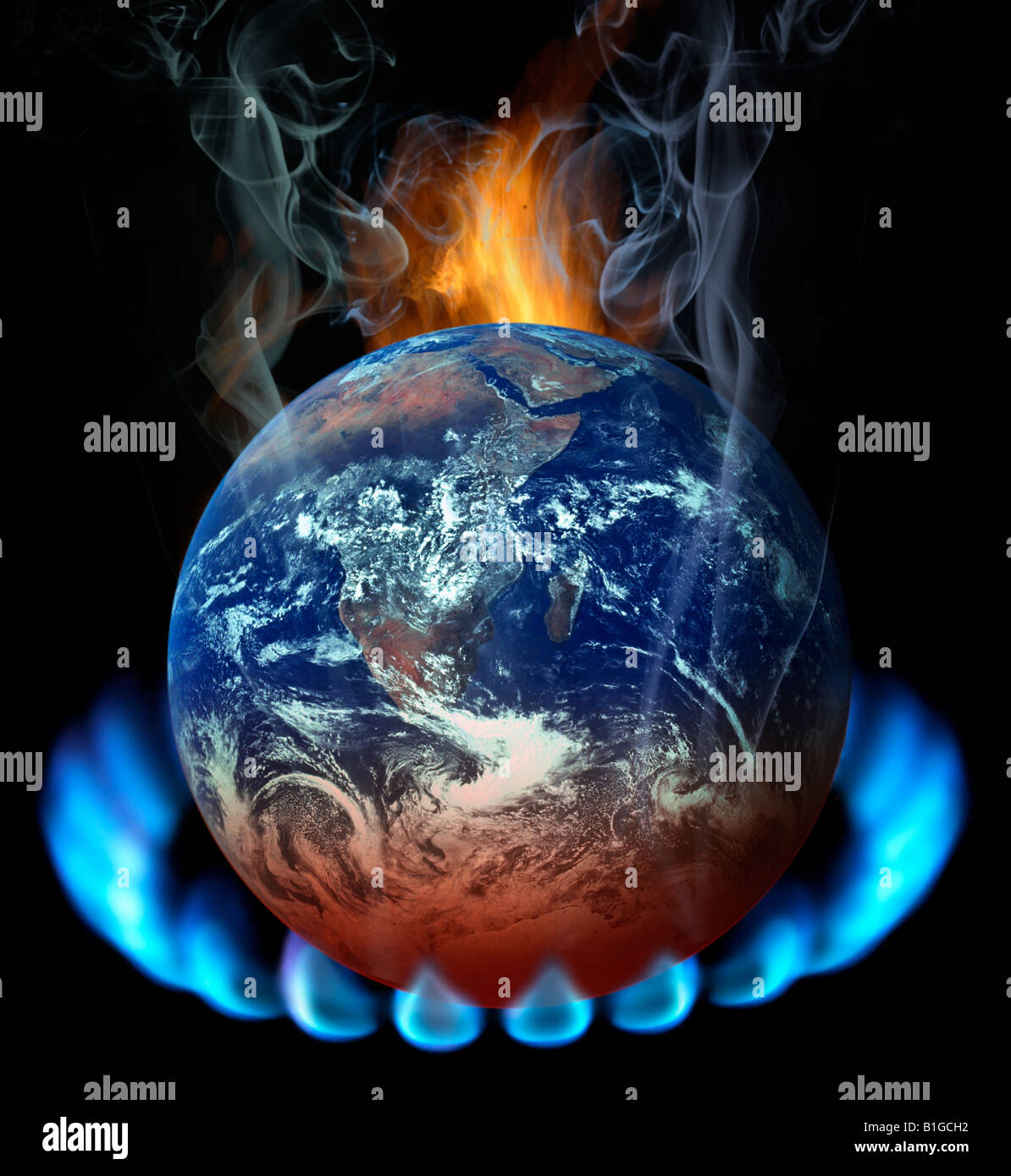 Earth on gas light is warmed up and is smoking - Stock Image