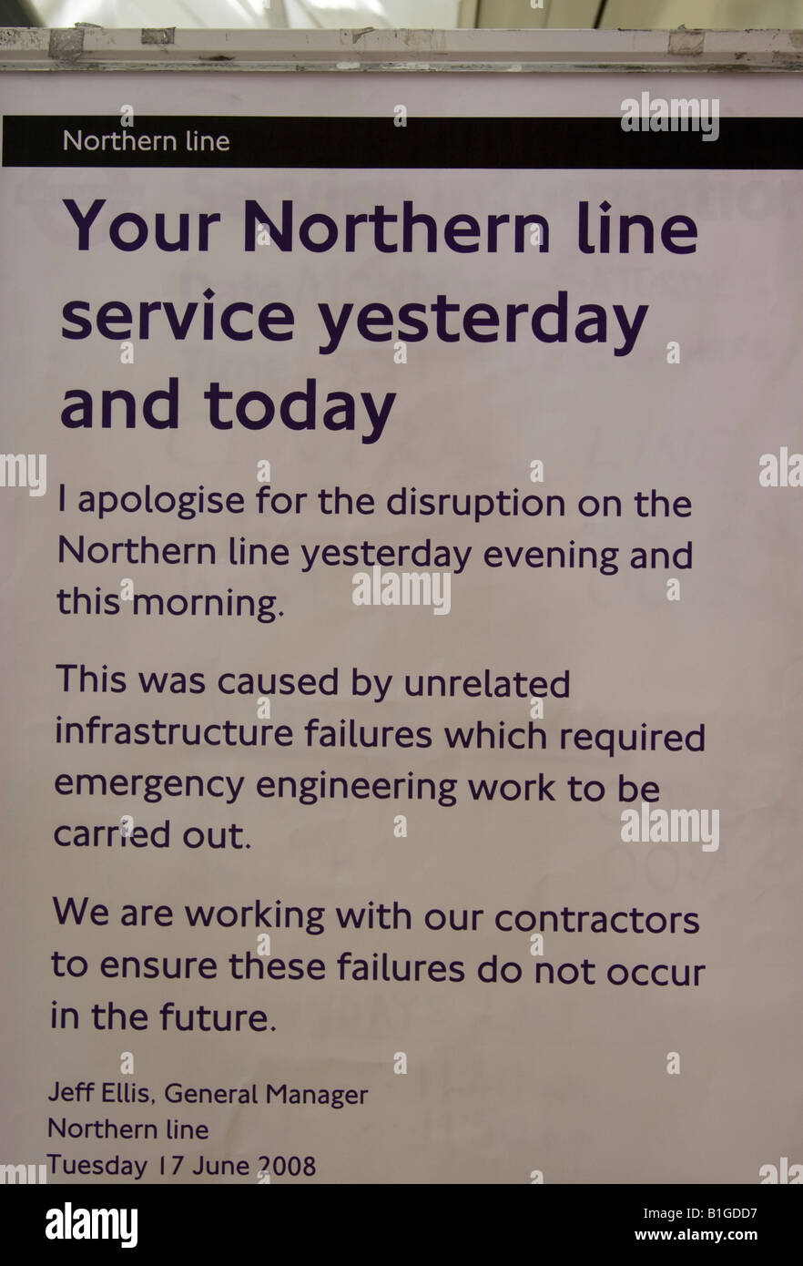 London Underground poster apologising for disruption on Northern Line - London Stock Photo