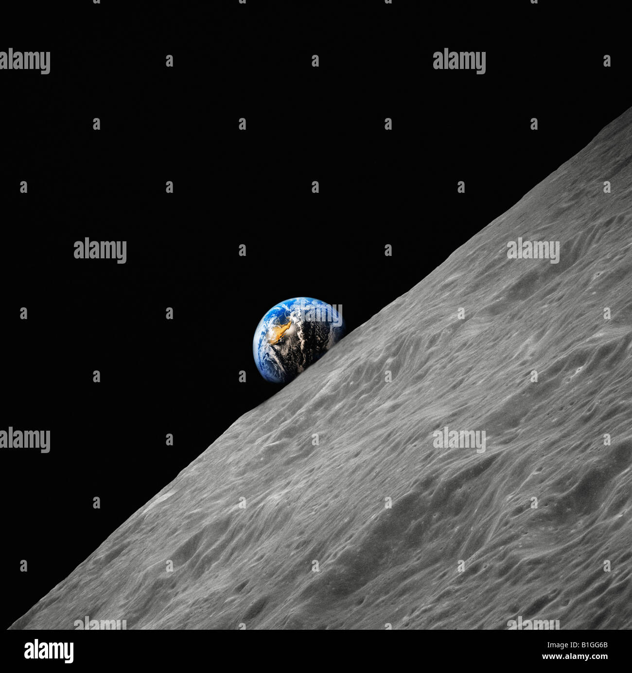 Earth rising above the surface of the moon Digital composite - Stock Image