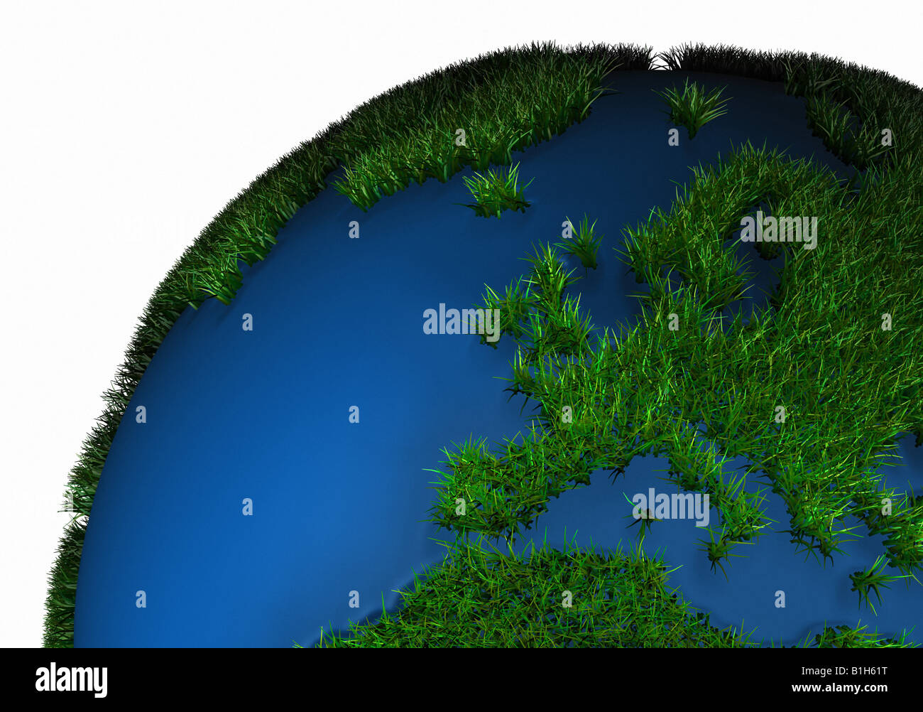 Grass covered globe - Stock Image