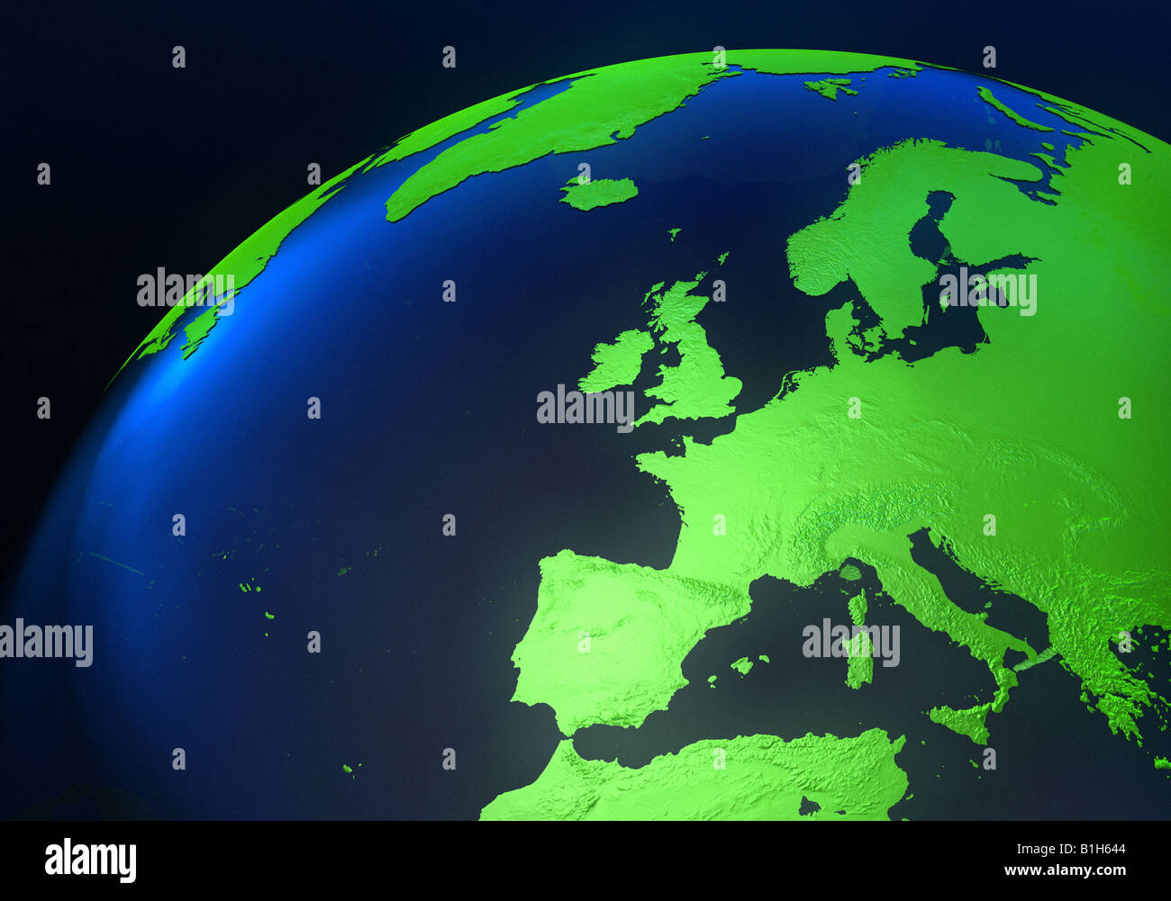 Europe on a computer generated globe Stock Photo