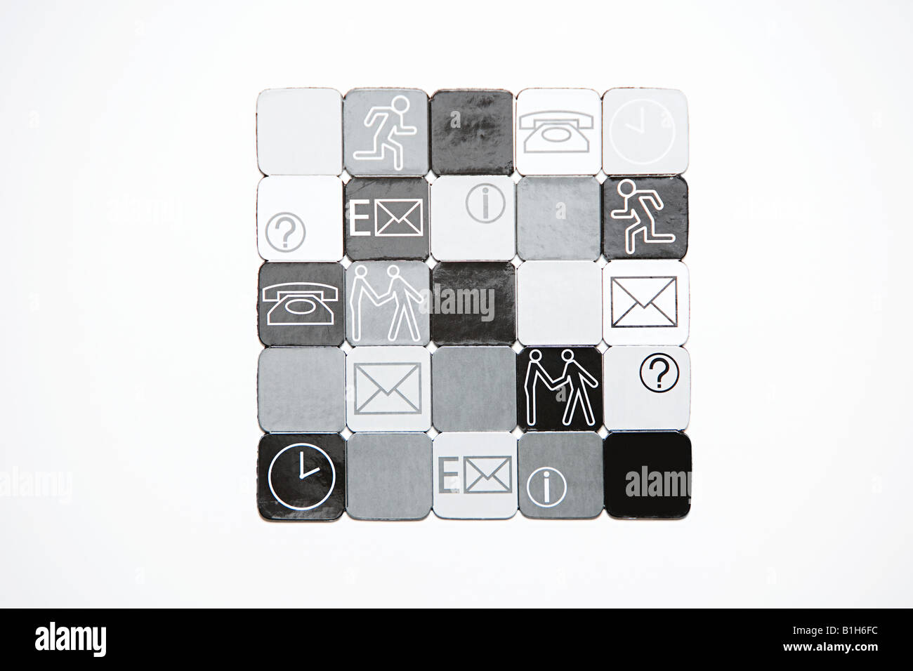 Squares with illustrations on them - Stock Image