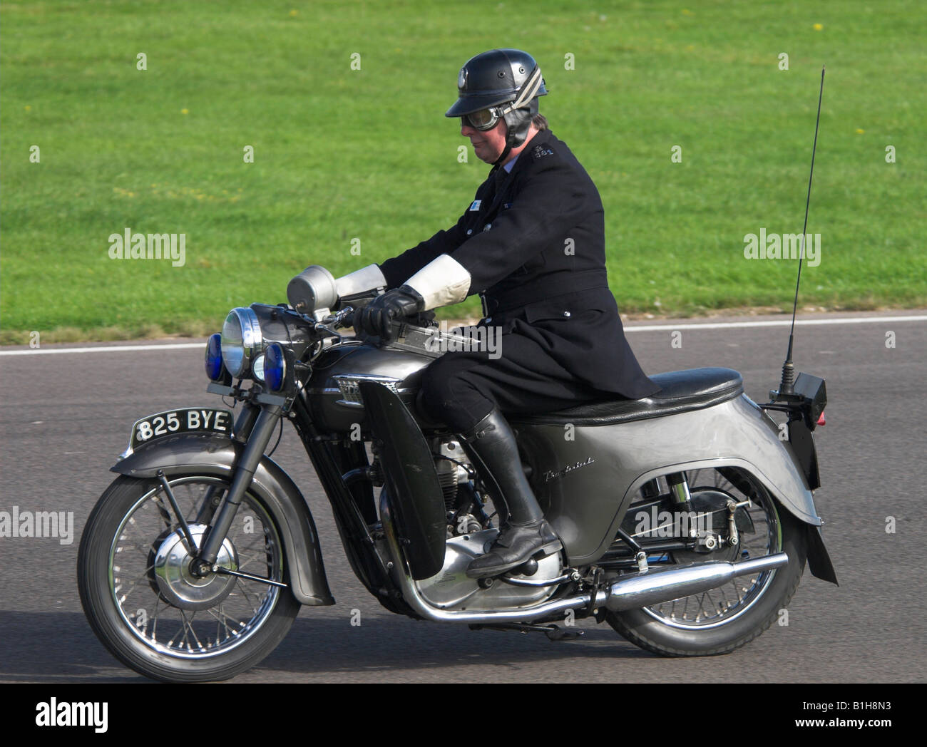 1950s Policeman on a Motorcycle Stock Photo