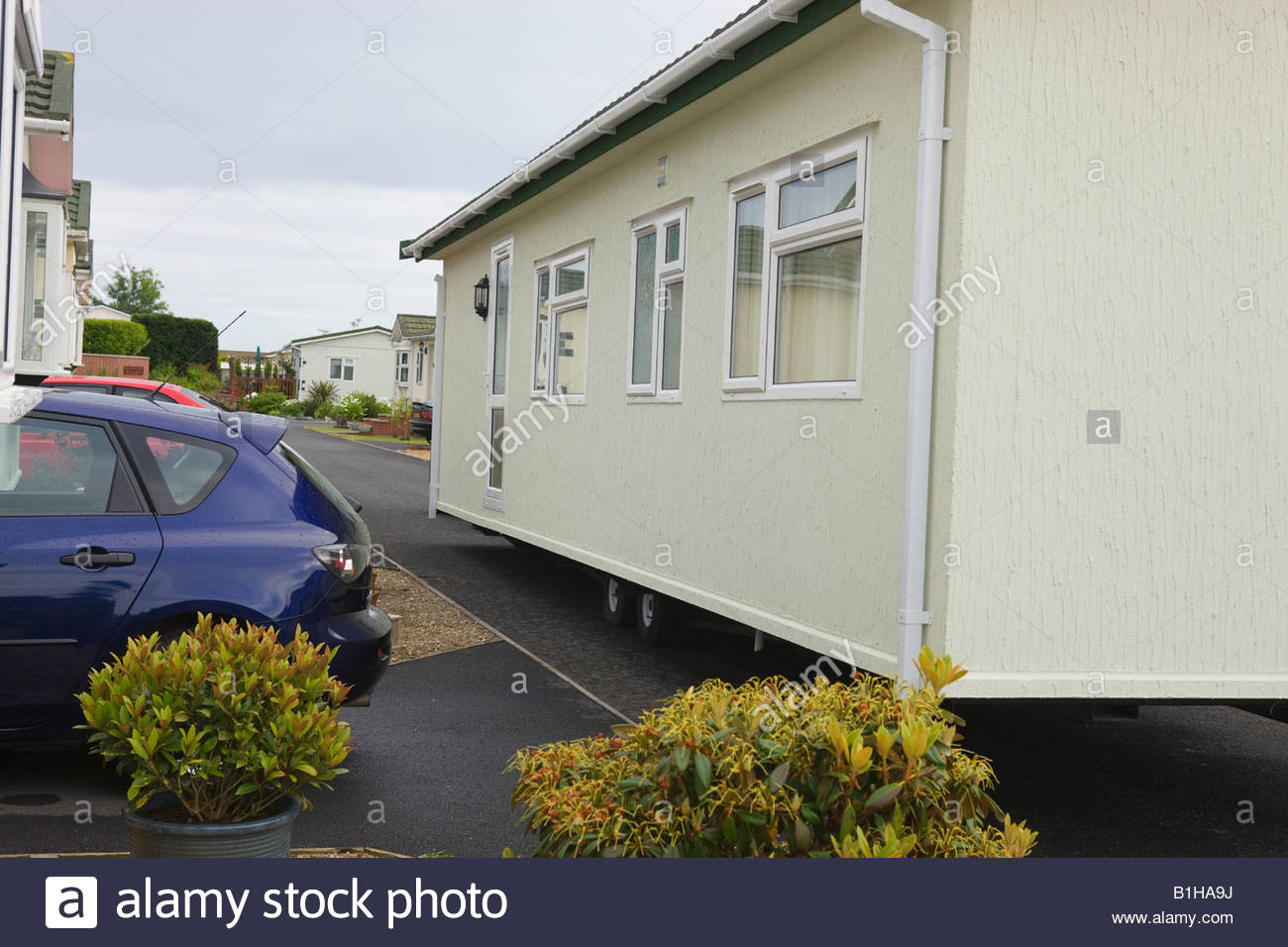 Siting of Mobile Park Home Pembrokeshire Wales - Stock Image