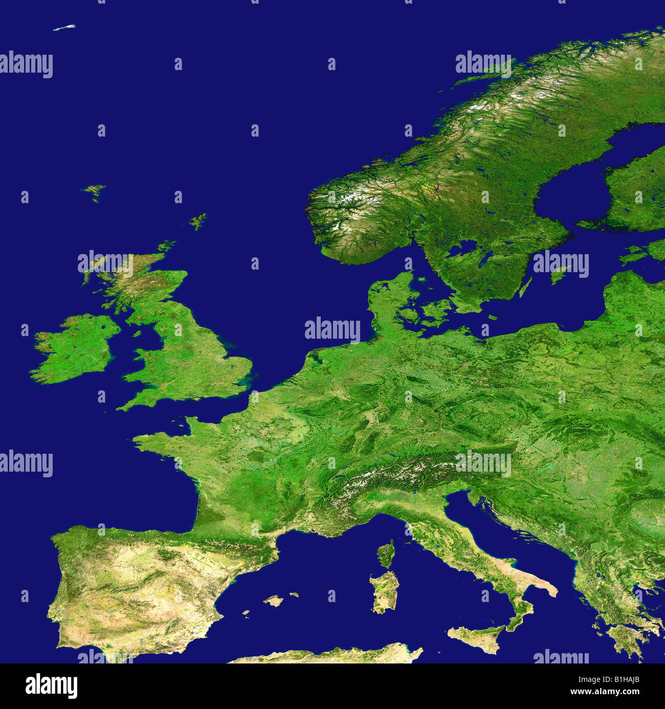 Topograhical Map of Europe - Stock Image
