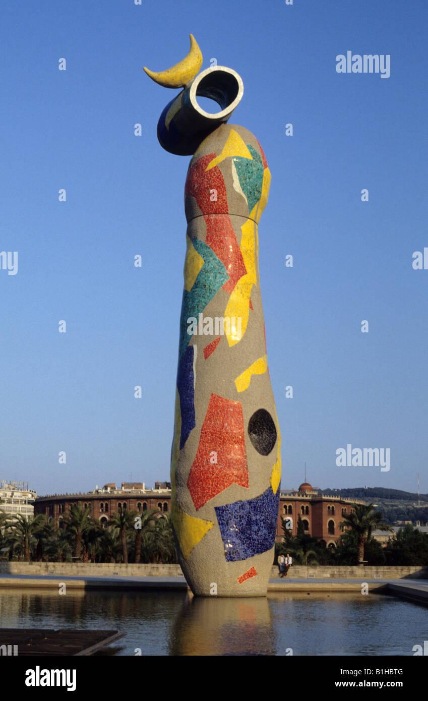 Dona i Ocell Woman and Bird sculpture by Joan Miró Parc de l Escorxador Barcelona Spain - Stock Image