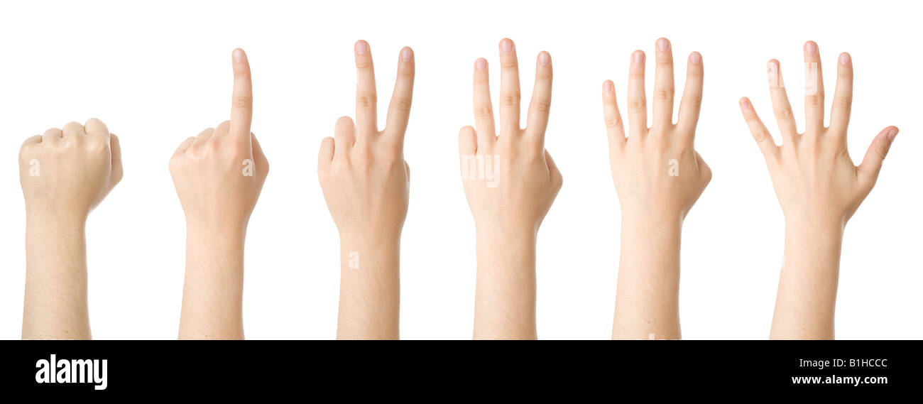 Set of hands making the numbers from 0 to 5 Stock Photo